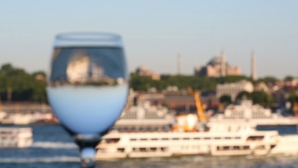 Wineglass and ship and mosque in Istanbul, Turkey