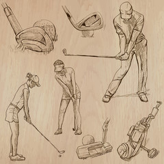 Golf and Golfers - Hand drawn vectors