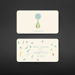 business cards creative template with vase symbol