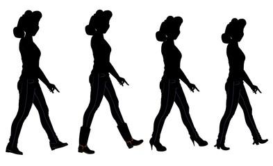 ladies walking in silhouette with various footwear