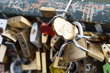 Love padlocks on the bridge Pont des Arts