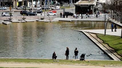 People Near City Park Pond