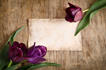 The old card and fresh tulips from two corners is lying on woode