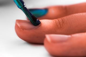 Close up view of nail polishing