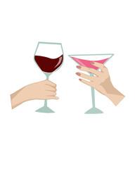 mani con bicchiere di vino e martini