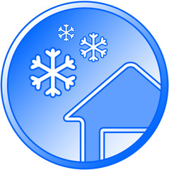 blue winter icon with snow and house