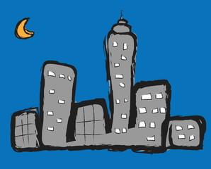 doodle night city
