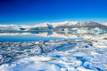 Jokulsarlon, a large glacial lake in southeast Iceland