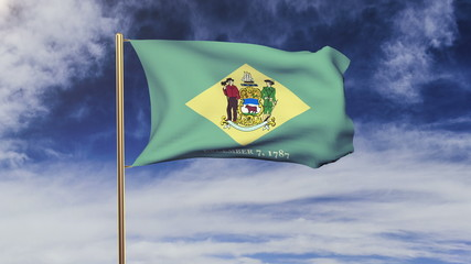delaware flag waving in the wind. Green screen, alpha matte