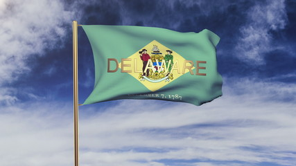 delaware flag with title waving in the wind. Looping sun rises