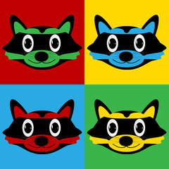 Pop art raccoon symbol icons.