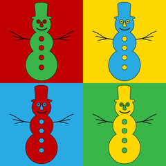 Pop art snowman symbol icons.