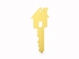 Golden House key isolated on White Background