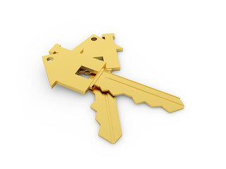 Golden House key isolated on White Background