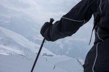Skifahrerin am Start