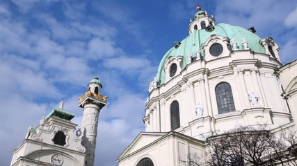 Dome of St. Charles church at sky background in Austria Vienna