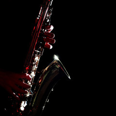 Saxophone isolated on black closeup