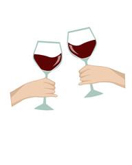 mani con bicchiere di vino