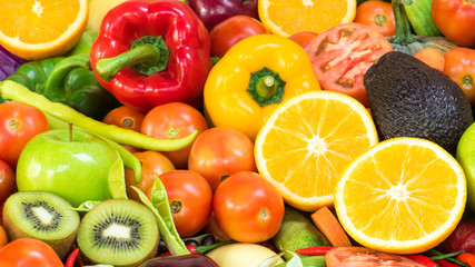 Group Fruits and vegetables organics for healthy