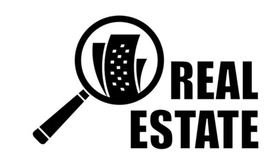 real estate icon with magnifier lens