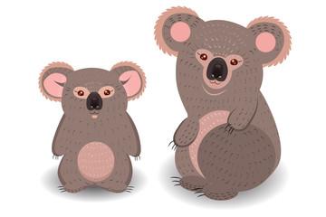Koala mom and cub