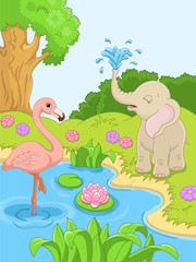 flamingos and elephant in nature