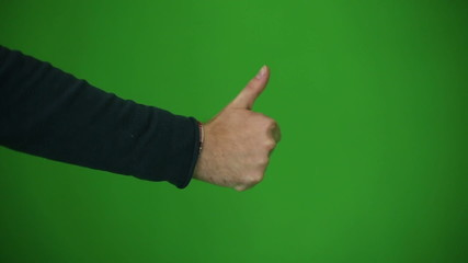 Hand show thumb. Green key