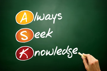 Always Seek Knowledge (ASK), business concept on blackboard