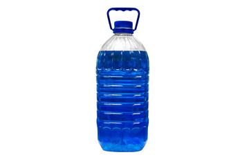 transparent plastic canister with blue liquid