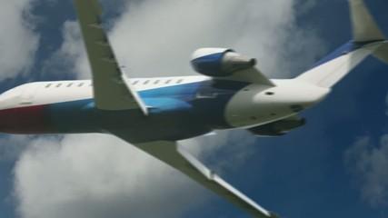 Flying  airplane in air