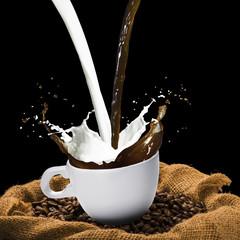 Coffee Beans and Coffee Splash