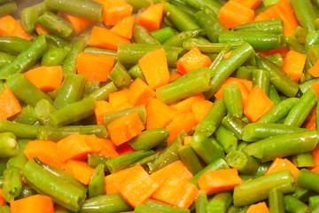 cut asparagus beans and diced carrot