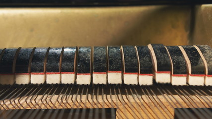 Details inside of grand piano