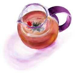 Watercolour tea pot with a tea flower