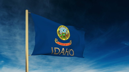 idaho flag slider style with title. Waving in the wind with