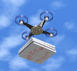 Drone delivers pizza boxes. - 80214790