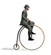 1880's Man Riding a Penny-farthing Bicycle. - 80215702