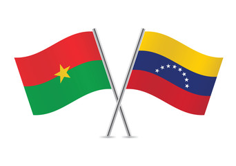 Burkina Faso and Venezuela flags. Vector illustration.