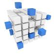 Zusammenarbeit Konzept mit 3D Würfel