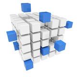 Fototapety Zusammenarbeit Konzept mit 3D Würfel