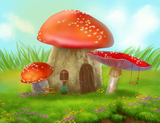 Fantasy fly agaric mushroom cottage on a colorful meadow