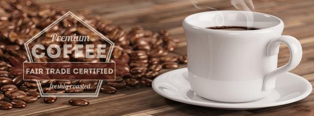 Werbung für eine Tasse Fair Trade Kaffee