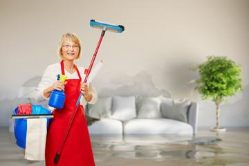 Reinigung einer Wohnung nach Wasserschaden