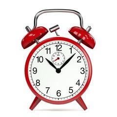 Uhrzeit auf einem roten Wecker