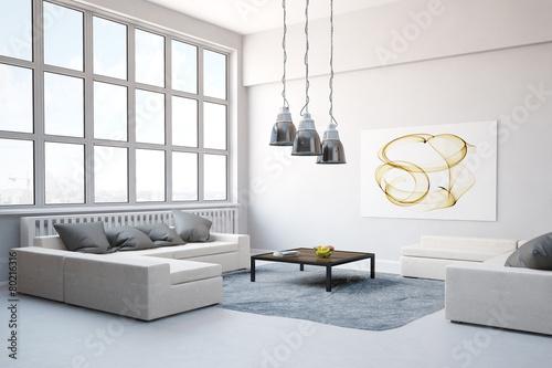 Sofa mit Teppich im Wohnzimmer im Loft - 80216316