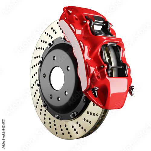 canvas print picture Automobile brake disk and red caliper