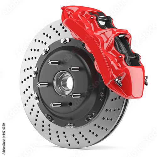 Automobile brake disk and red caliper - 80216750