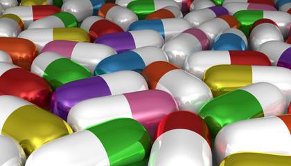 Many multicolor pills