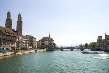 Zurich city center and Limmat quay