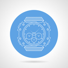 Flat round vector icon for diving wristwatch